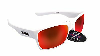 RayZor Uv400 White Sailing Sports Wrap Sunglasses Red Mirrored Lens RRP£49 (424)