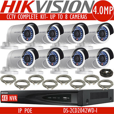 HIKVISION 4CH 8CH NVR PoE Kit Outdoor 4MP CCTV Security Camera System IP Network