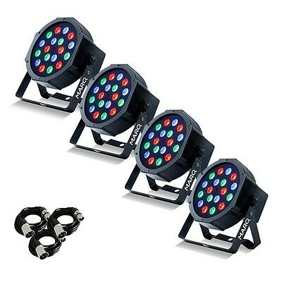 4x Marq Colormax P18 DJ Disco Party Parcan LED Lighting Effects & DMX Cables