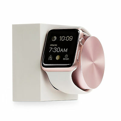 Apple iWatch Charging Dock Round Nightstand Mode iWatch Holder Rose Gold Native