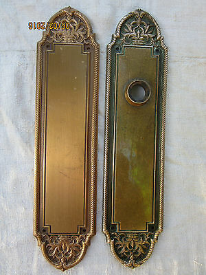 Vintage Pair Door Knob Backplates Solid Brass High Quality Floral Motif Cir 1900