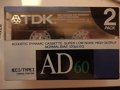 2 x TDK AD60 AD 60 Minute Blank Cassette BRAND NEW / STILL SEALED! 1988 Japan