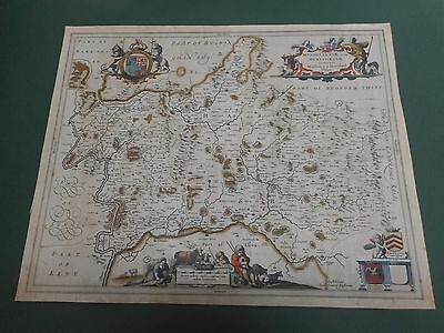 100% Original Large Middlesex Herfordshire Map By Jansson C1650 Hand Coloured