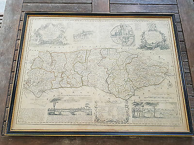 Bowen - Accurate Map of the County of Sussex. 1779 ORIGINAL. Linen backed.