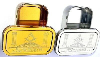 Silver Or Gold Personalised Masonic Tobacco Cigarette Tin Holder Engraved Gift