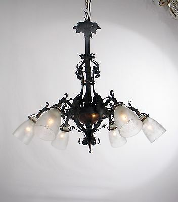 Antique Arts & Craft Black Wrought Iron & Copper Chandelier (Belgium 1920's)