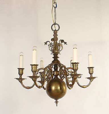 Antique American 6 Light Cast Brass Williamsburg Style Chandelier circa 1920's