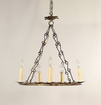 Italian Antique 8 Light Gold Leaf Wrought Iron Chandelier