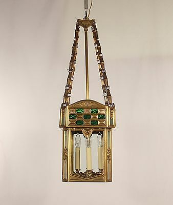 Antique 4 Light Spanish Art Deco Green & Clear Glass Brass Lantern