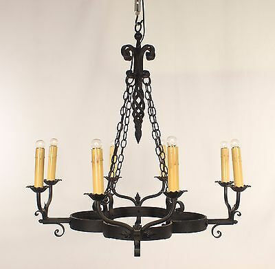 Antique 8 Light Hand Forged Clove Shaped French Black Wrought Iron