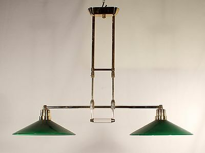 1970's Spanish 2 Light Brass w/ Cased Glass Emerald Green Shades