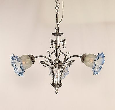 Antique 3 Light French Victorian Chandelier w/ Frosted to Blue Glass Shades