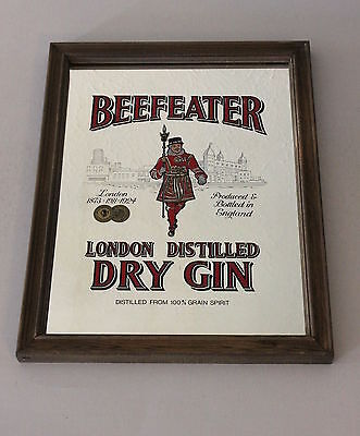 Vintage Beefeater London Dry Gin Bar Wall Mirror in Wood Frame