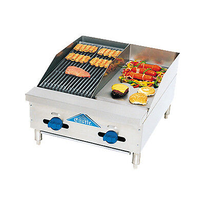 "Comstock Castle FHP24-12-1LB 24"" Gas Griddle and Charbroiler- Lava Rock Radiants"
