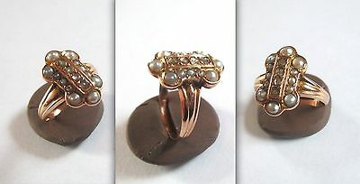Georgous BIEDERMEIER Lady's Rosè Gold Ring with Natural Pearls and Diamonds
