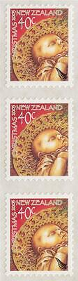 New Zealand 2003 Christmas 40c strip (3) one with missing silver fern CP NZ$1750