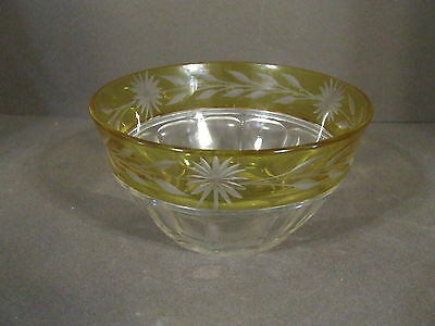 Vintage Yellow Cut To Clear Etched Daisy Mayonnaise Bowl
