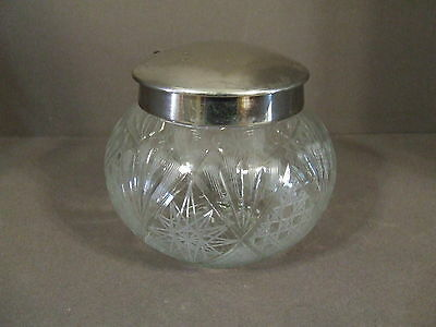 Vintage Etched Glass Jar With Silver Tone Hinged Lid