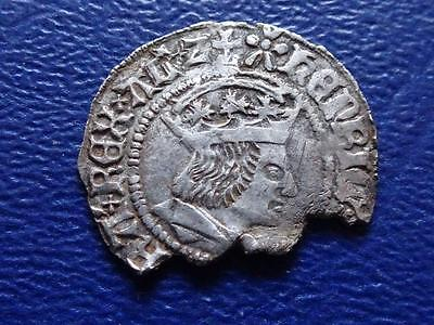 Great Britain - Henry 7Th Vii Hammered Silver Half Groat / Twopence York Damaged