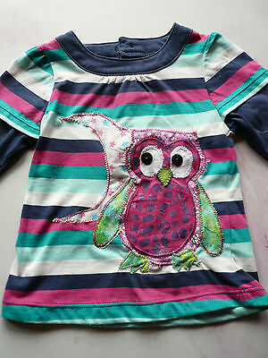 Handmade appliqued T'shirt, Owl and moon, 18-24mths, button eyes