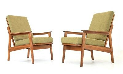 Vintage Teak Danish Influence Modernist Lounge Chairs