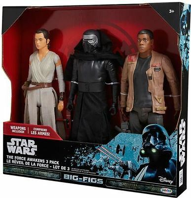 Star Wars The Force Awakens 3 Pack 18/20 inch Big Figs Figures Rey Kylo Ren Finn