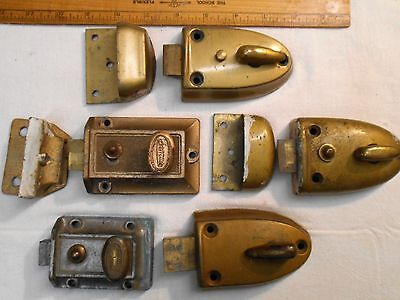 Lot-5 Vintage Metal Spring Loaded Turn Knob Door Cabinet Latchs-3 w/ Locks-Large