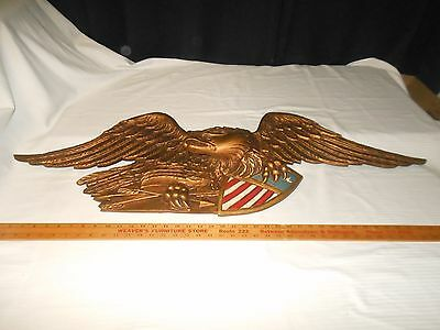 "Vintage Large Eagle Shield & Arrows Wall Mount Hanging - Metal Gold - 43"" Long"