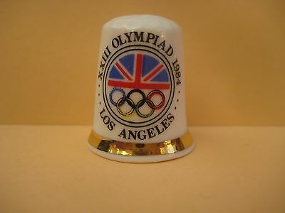 Vintage decorative porcelain thimble, XXIII Olympiad 1984, Los Angeles