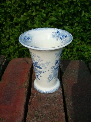 Minton? Opaque China, Blue and White Floral Pattern Vase, Circa 1830.