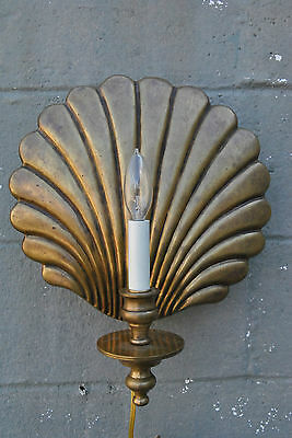 Brass Shell Design Wall Sconce with Bronze Patina by Frederick Cooper