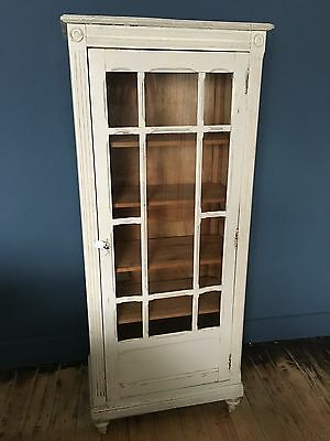 Antique French Style Glazed Display Cabinet Painted