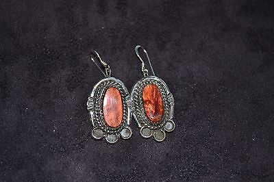 Handmade Sterling Silver and Red Mirage Dangle Earrings