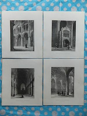 A set lot of 4 antique art engraving prints Peterborough Cathedral pictures