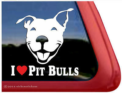 I Love Pit Bulls Decal | High Quality All-Weather Smiling Pitbull Dog Sticker