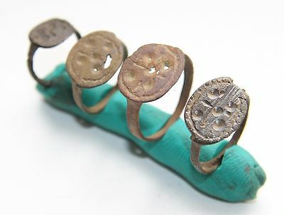 4 x Ancient Bronze Finger Pseudo-Heraldry Seal Rings (MCR)