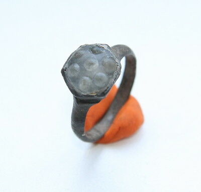 Ancient Medieval Bronze Finger Ring With Whie Inlay (MJA)