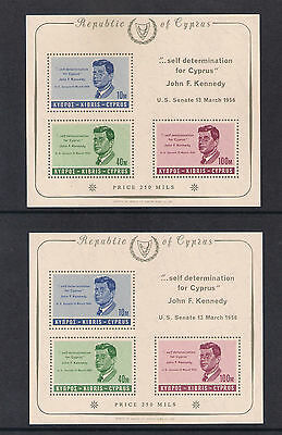 CYPRUS  USA 1965 PRESIDENT KENNEDY 2 M/S WITH Wmk UP ( RARE ) and Wmk DOWN MNH