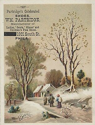 Victorian Trade Card - Winter Scene - Partridge's Celebrated Shoes