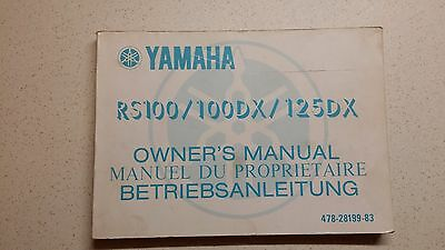 Yamaha Rs100 / 100Dx / 125Dx Owners Manual 1976