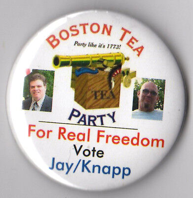 Charles Jay campaign button pin 2008 Boston Tea Party