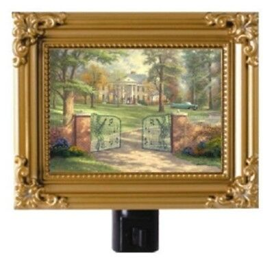 Thomas Kinkade Graceland 50Th Anniversary Elvis Presley Home Framed Night Light