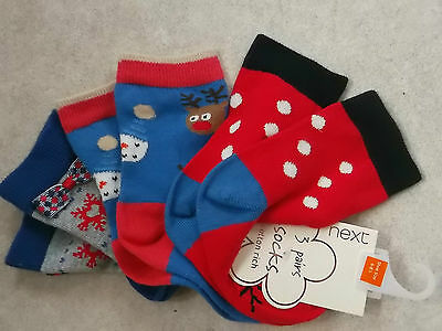 Gorgeous Bows, Reindeer & Snowman Socks shoe size 6-8 approx age 3+ BNWOT