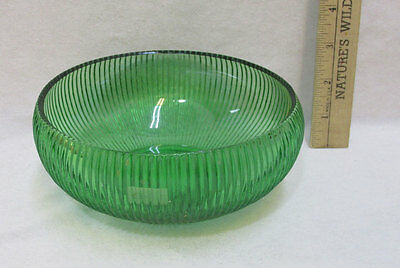 EO Brody Green Glass Ribbed Bowl Dish Smooth Edge Vintage