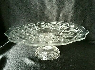 Vintage Moon and Star Crystal Clear Glass Low Pedestal Cake Stand Plate