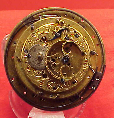 Vintage UNUSUAL 50MM FUSEE 1/4 HOUR REPEATER PARTIAL MOVEMENT  POCKET WATCH
