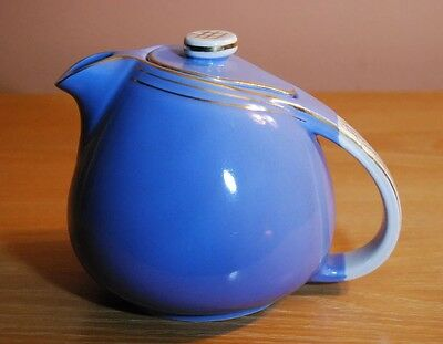 ART DECO! Hall China 6 cup #0809 Blue Teapot w/ Gold Accent c.1940's