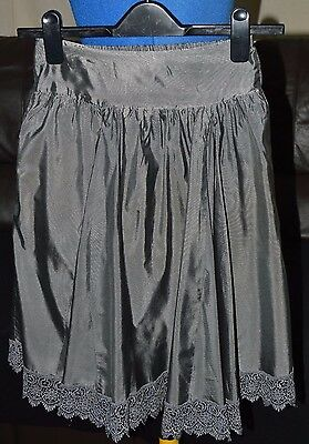 *NEW*~Girls Metallic Silver/Grey Lace Lined Skirt~Age 10-11 Years~George~RRP £22