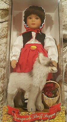 Margarete Steiff Puppe Doll Little Red Riding Hood with Mohair Wolf Rare Limited