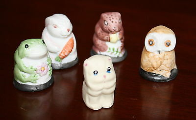 Set of 5 Animal Vintage Collectible sewing Thimble Frog Bunny Owl Cat squirrel